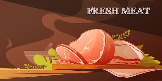 Flache vektorillustration des frischen fleisches in der karikaturart mit köstlicher scheibe speck Kostenlosen Vektoren