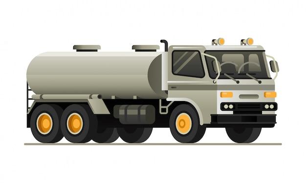 Flache vektorillustration des tankwagens fahrzeug Premium Vektoren