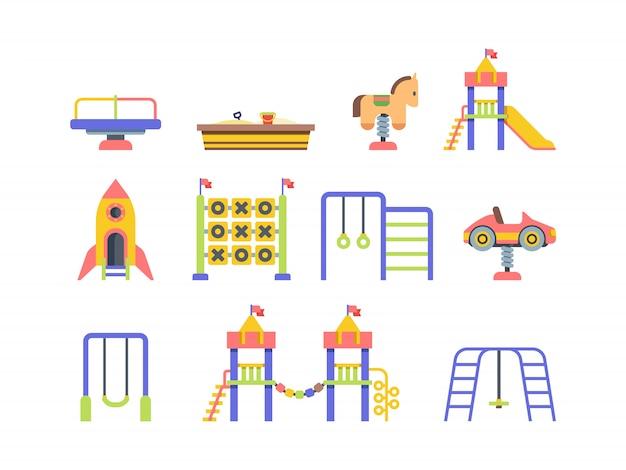 Flache vektorillustrationen der kinderspielplatzobjekte setzen Premium Vektoren