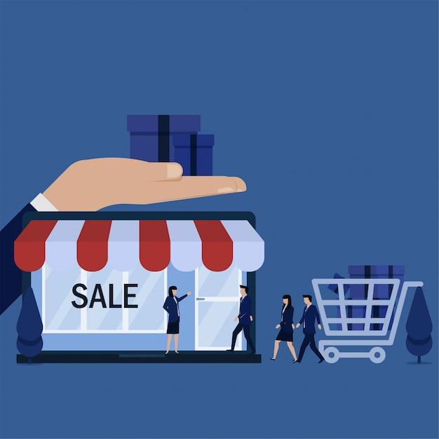 Flache vektorkonzeptleute des geschäfts gehen, auf laptop zu speichern, um metapher des online-shops zu kaufen. Premium Vektoren