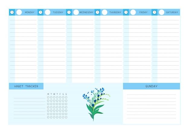 Flache vektorschablone des wochenzeitplans und des gewohnheitsverfolgers blaue wilde blumen. kalenderentwurf mit blumenblüten und blütenblättern auf weißem hintergrund. leere seite des organisators für persönliche aufgaben für den planer Premium Vektoren