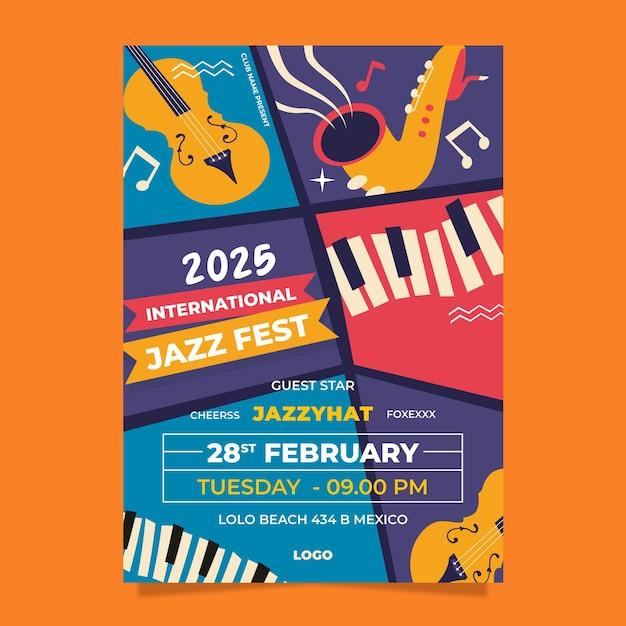 Flache vertikale plakatschablone des internationalen jazz-tages Premium Vektoren