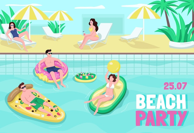 Flache vorlage des strandpartyplakats. spaß und getränke am meer. leute, die ball im pool spielen. broschüre, broschüre einseitiges konzeptdesign mit comicfiguren. sommer freizeit flyer, faltblatt Premium Vektoren