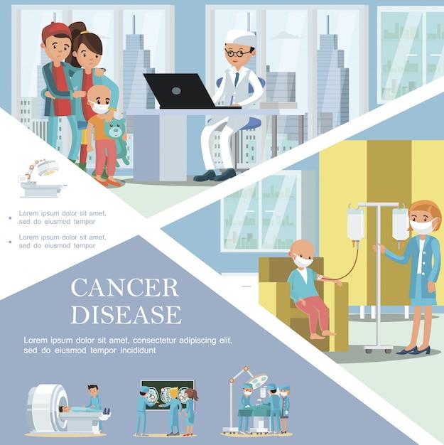 Flache vorlage für krebserkrankungen bei kindern mit kranken kindern, die eine medizinische behandlung für onkologische erkrankungen und diagnostische verfahren für die onkologie erhalten Kostenlosen Vektoren