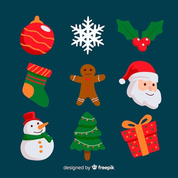 Flache weihnachten elementsammlung Kostenlosen Vektoren