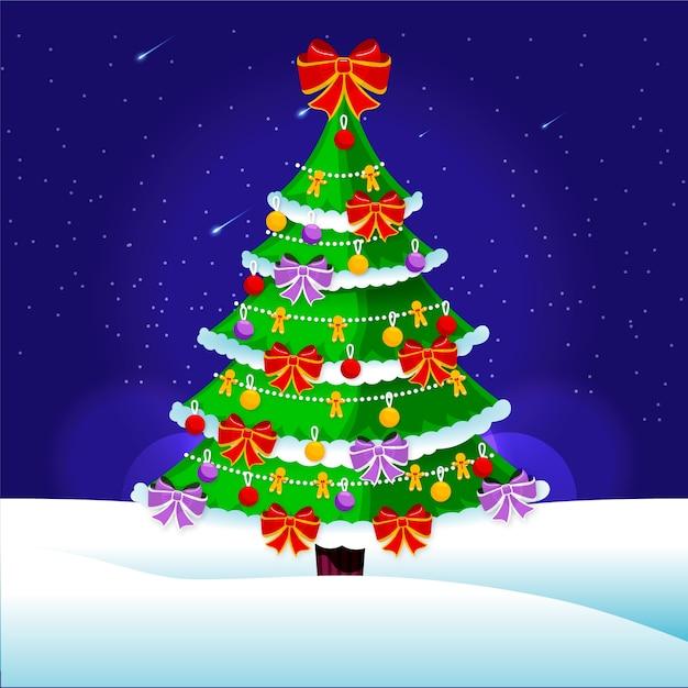 Flache weihnachtsbaum hintergrund Kostenlosen Vektoren
