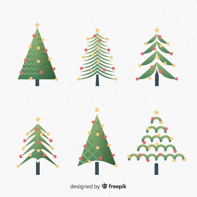 Flache weihnachtsbaum-sammlung Kostenlosen Vektoren