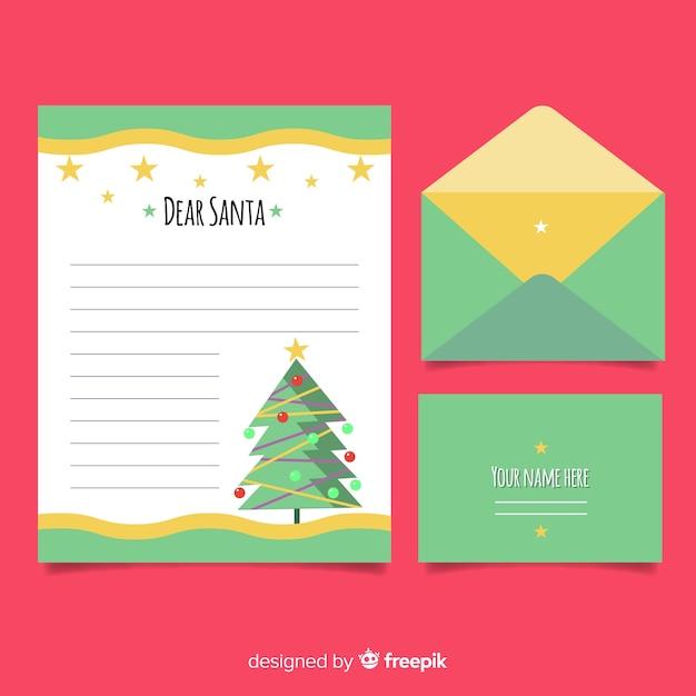 Flache Weihnachtsbaum Weihnachts Briefvorlage Download Der