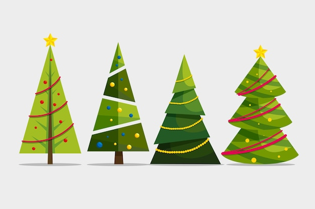 Flache weihnachtsbaumsammlung Kostenlosen Vektoren