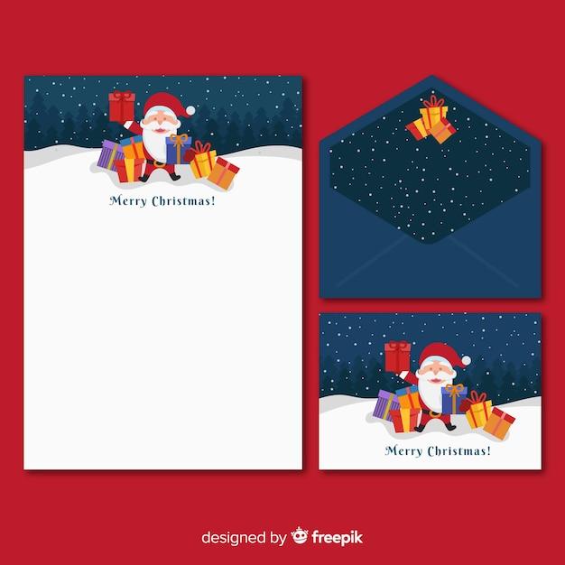 Flache weihnachtsbriefpapierschablone mit weihnachtsmann Kostenlosen Vektoren