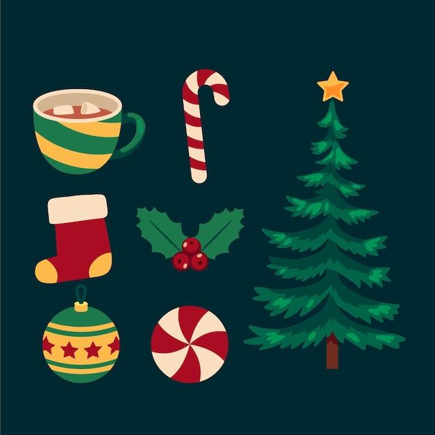 Flache weihnachtselementsammlung Premium Vektoren