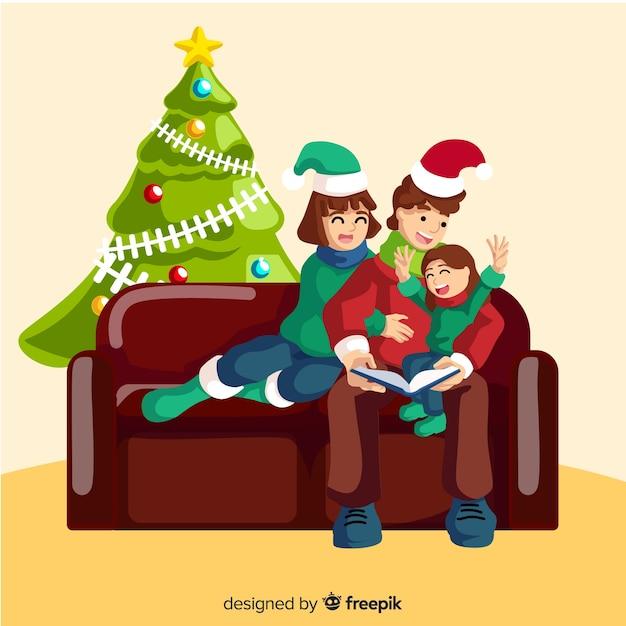 Flache weihnachtsfamilienszene Kostenlosen Vektoren