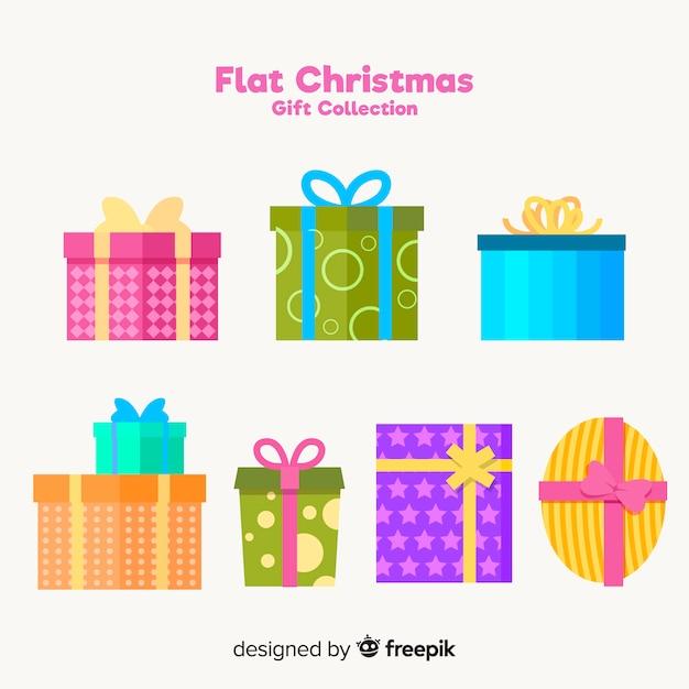 Flache weihnachtsgeschenkkollektion Kostenlosen Vektoren