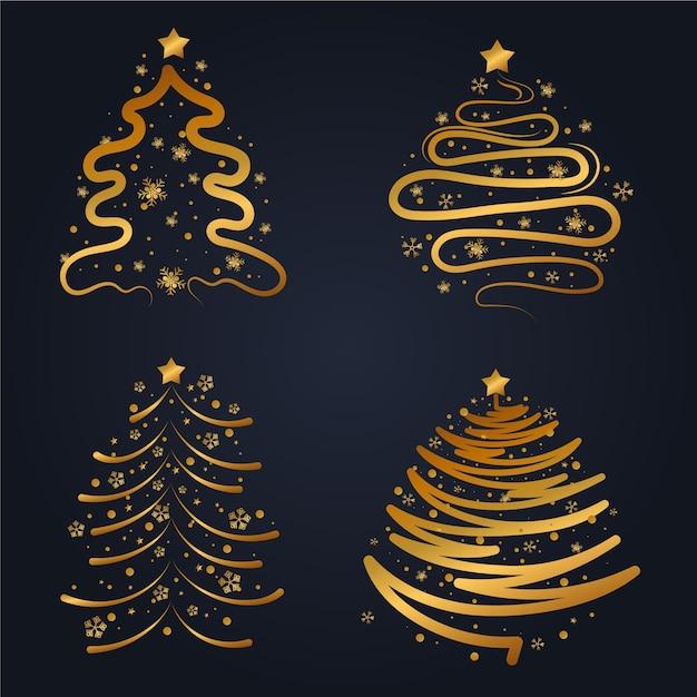 Flache weihnachtsgoldbaumsammlung Kostenlosen Vektoren