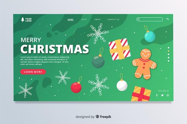 Flache weihnachtslandeseite mit dekorationen Kostenlosen Vektoren
