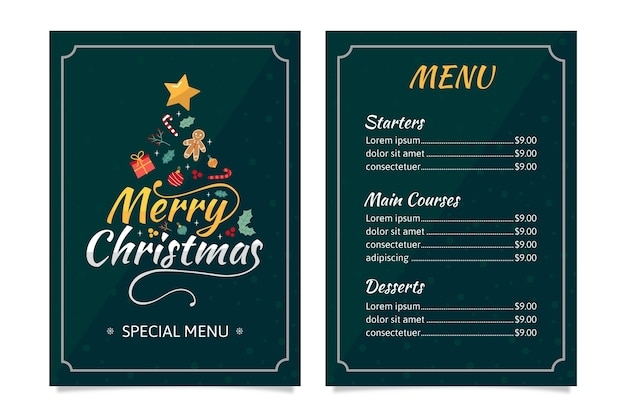 Flache weihnachtsmenüschablone Premium Vektoren