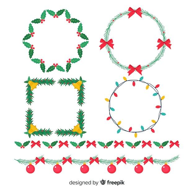 Flache weihnachtsrahmen und grenzen Kostenlosen Vektoren