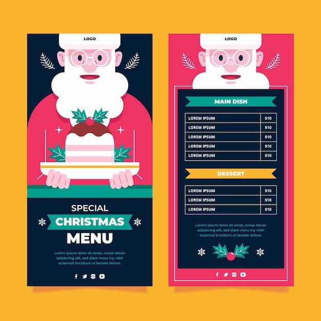 Flache weihnachtsrestaurantkarte Kostenlosen Vektoren