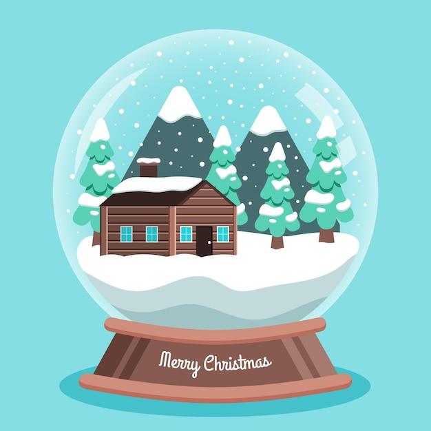 Flache weihnachtsschneeballkugel mit haus Kostenlosen Vektoren