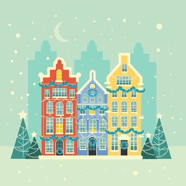 Flache weihnachtsstadt hintergrund Kostenlosen Vektoren