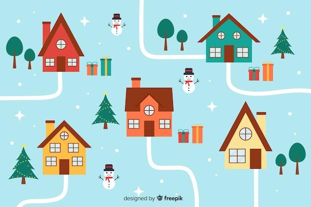 Flache weihnachtsstadthohe ansicht mit häusern Kostenlosen Vektoren