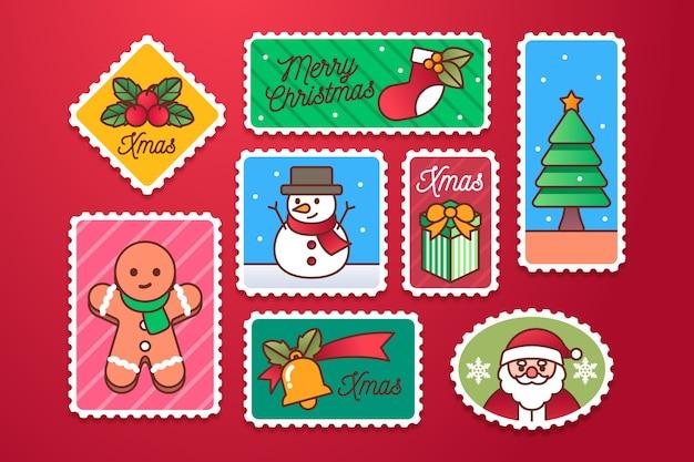Flache weihnachtsstempelsammlung Kostenlosen Vektoren