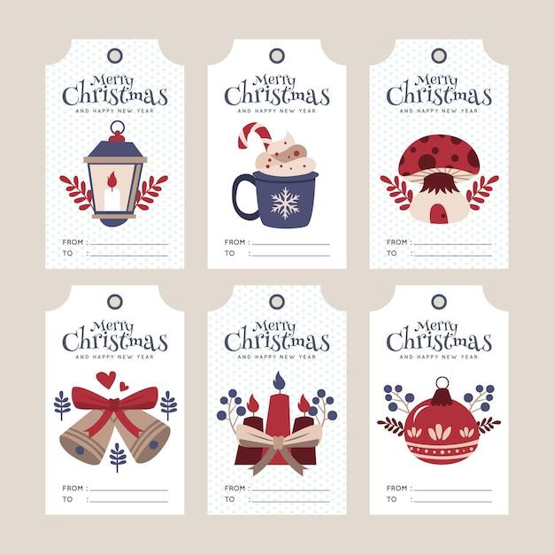 Flache weihnachtsverkaufs-tag-sammlung Kostenlosen Vektoren