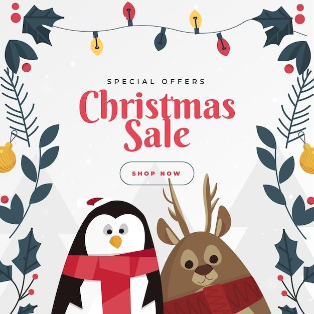 Flache weihnachtsverkaufsvorlage Premium Vektoren