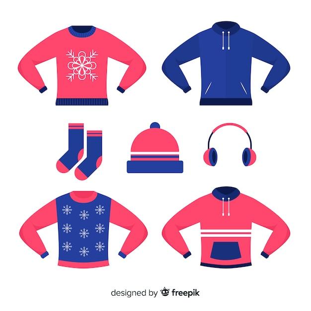 Flache winterkleidung Kostenlosen Vektoren