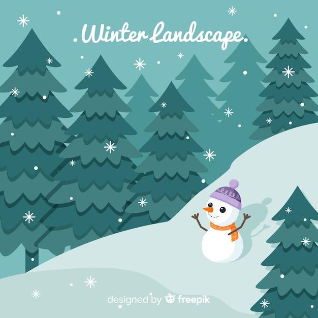 Flache winterlandschaft hintergrund Kostenlosen Vektoren
