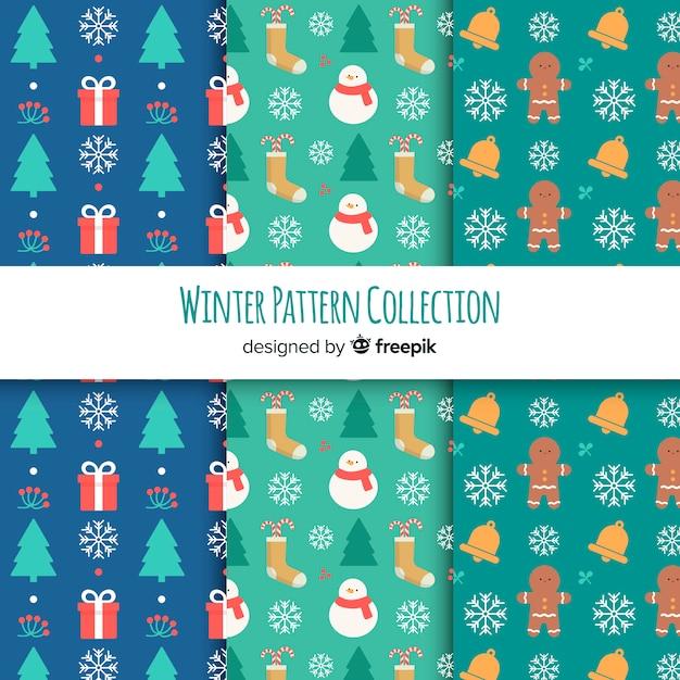 Flache wintermuster-kollektion Kostenlosen Vektoren