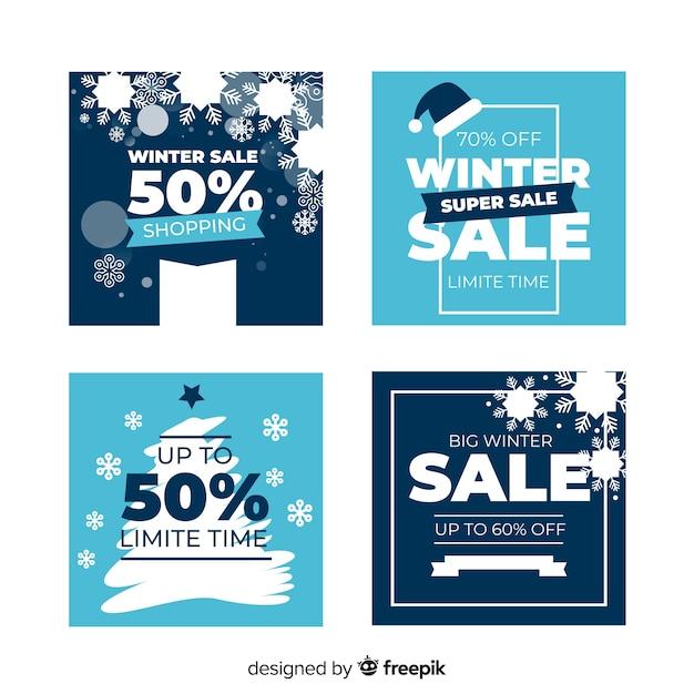 Flache winterschlussverkauf-karten eingestellt Kostenlosen Vektoren