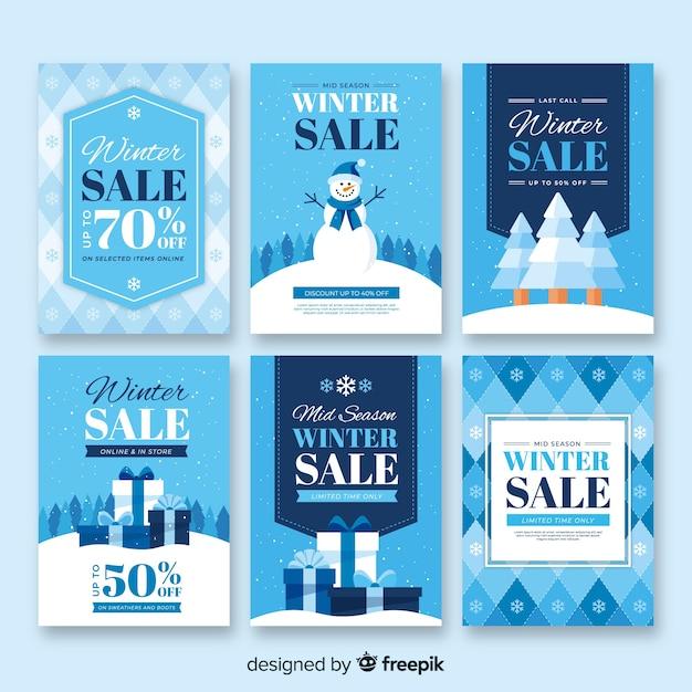 Flache winterschlussverkaufkarten eingestellt Kostenlosen Vektoren