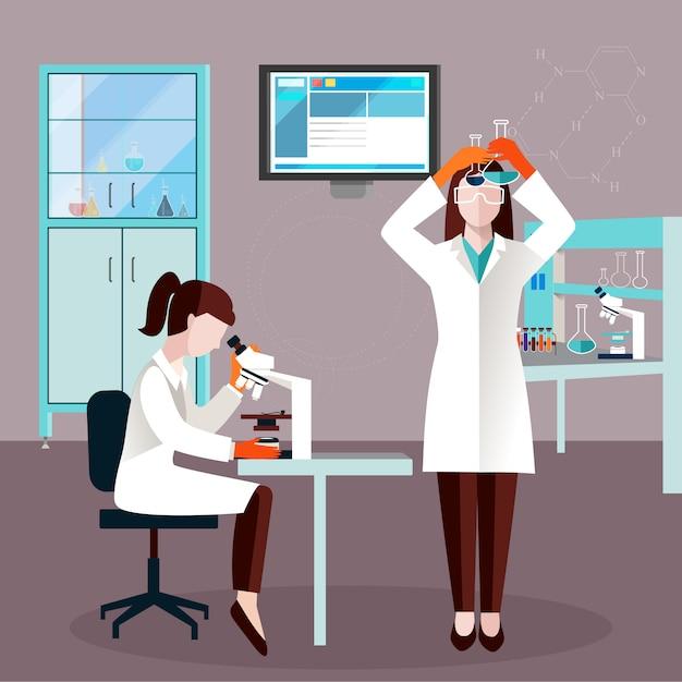 Flache wissenschaftler-leute-zusammensetzung Kostenlosen Vektoren