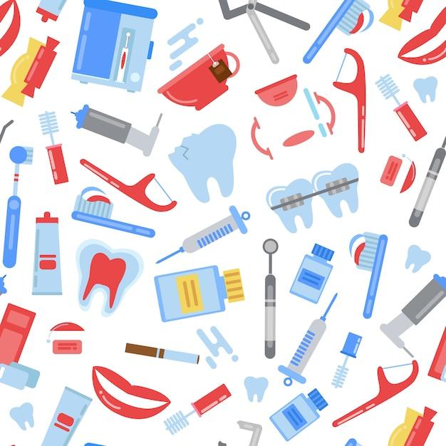 Flache zahnhygiene muster. illustration der zahnheilkundehygiene, der zahnbürste und der zahnpasta, stomatologiesorgfalt Premium Vektoren