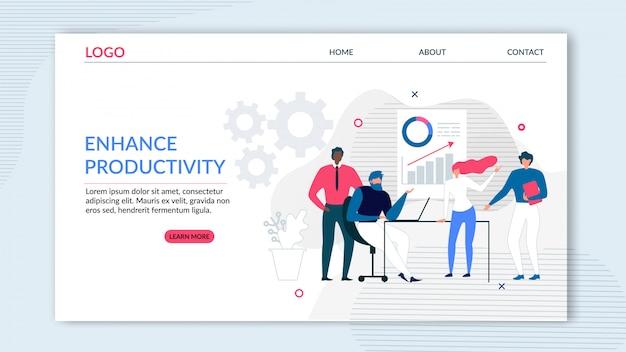Flache zielseite für mehr produktivität Premium Vektoren