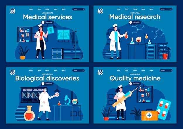 Flache zielseiten für medizinische dienste festgelegt. diagnose und behandlung in modernen klinikszenen für website oder cms-webseite. medizinische forschung, biologische entdeckungen, hochwertige medizinische illustration. Premium Vektoren