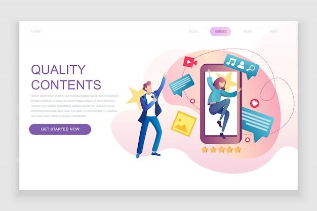 Flache zielseitenvorlage für qualitätsinhalte Premium Vektoren