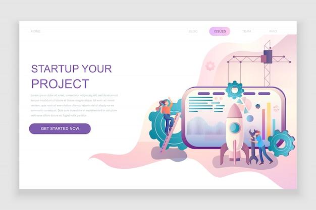 Flache zielseitenvorlage von startup your project Premium Vektoren