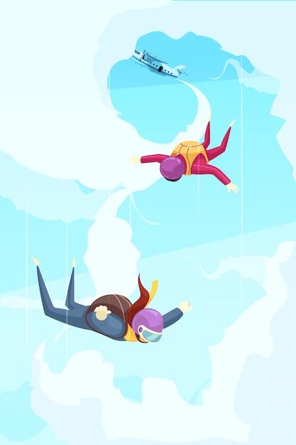 Flache zusammenfassung des skydiving-extremsport-abenteuers mit den teilnehmern, die vom stadium des freien falls des flugzeugs springen Kostenlosen Vektoren