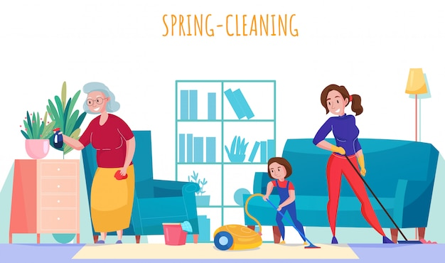 Flache zusammensetzung der familienhaushaltsaufgaben mit der kleinen tochter der großmutter, die frühjahrsputzwohnzimmerillustration staub saugt Kostenlosen Vektoren