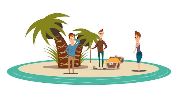 Flache zusammensetzung der glücklichen situationen der kreisinsellandschaft mit palmenschatzkasten und drei menschlichen charakteren vector illustration Kostenlosen Vektoren