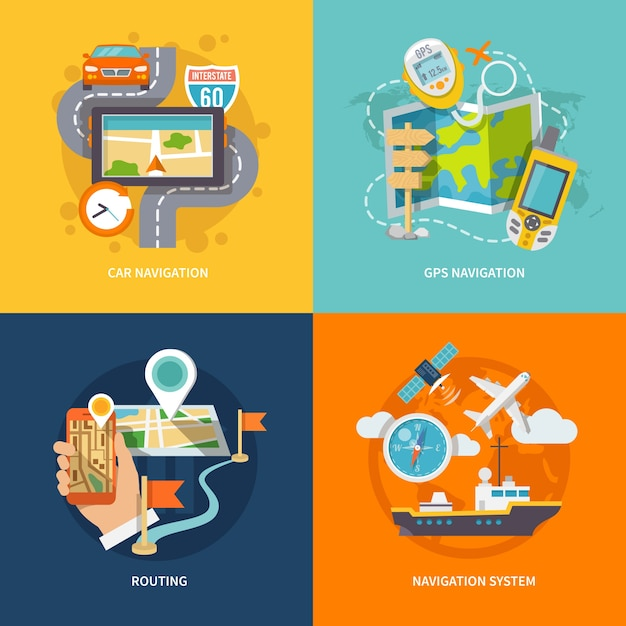 Flache Zusammensetzung der Navigationsikonen Kostenlose Vektoren