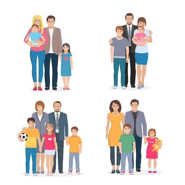 Flache zusammensetzung, die große glückliche familie darstellt Kostenlosen Vektoren