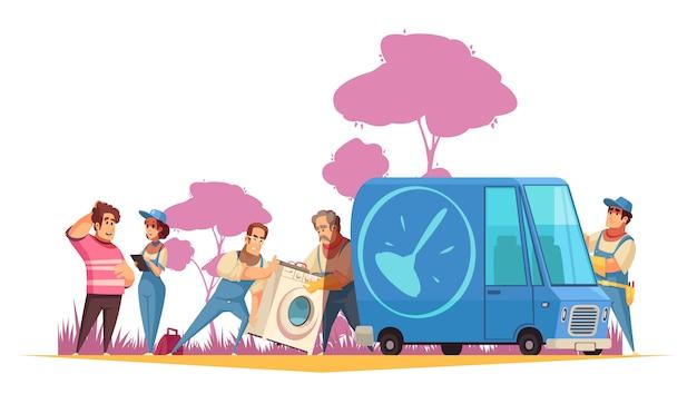 Flache zusammensetzung mit den klempnern, die waschmaschine zum service-center für reparaturkarikaturillustration transportieren Kostenlosen Vektoren