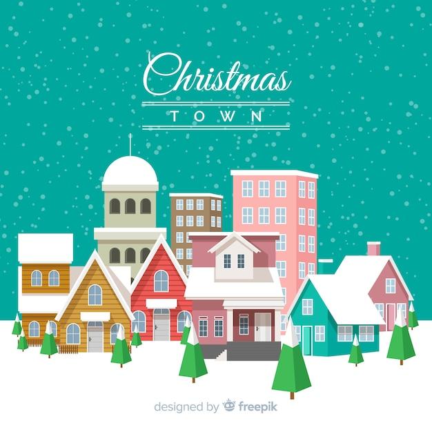 Flachen weihnachten stadt hintergrund Kostenlosen Vektoren