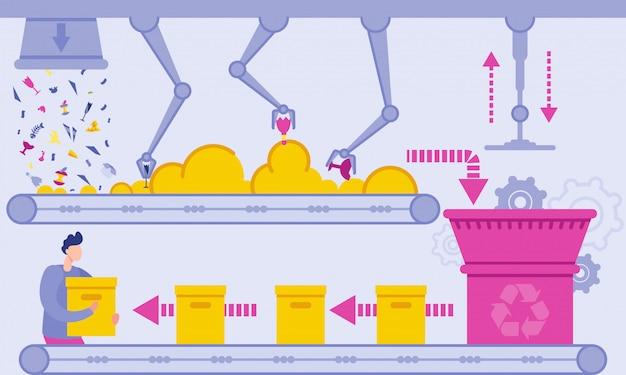 Flacher abfallaufbereitungsbetriebs-vektor-illustration. Premium Vektoren