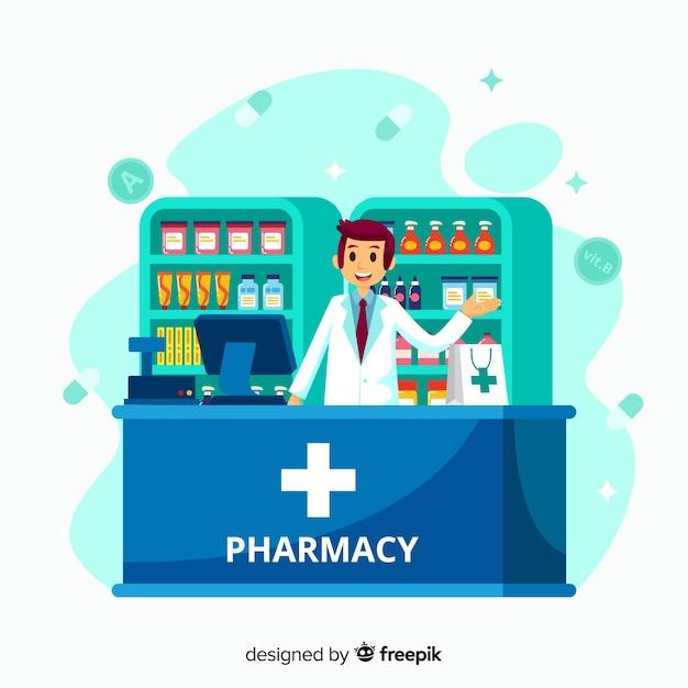 Flacher apotheker, der an kundenhintergrund teilnimmt Kostenlosen Vektoren