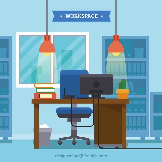 Flacher arbeitsbereich mit elegantem stil Kostenlosen Vektoren