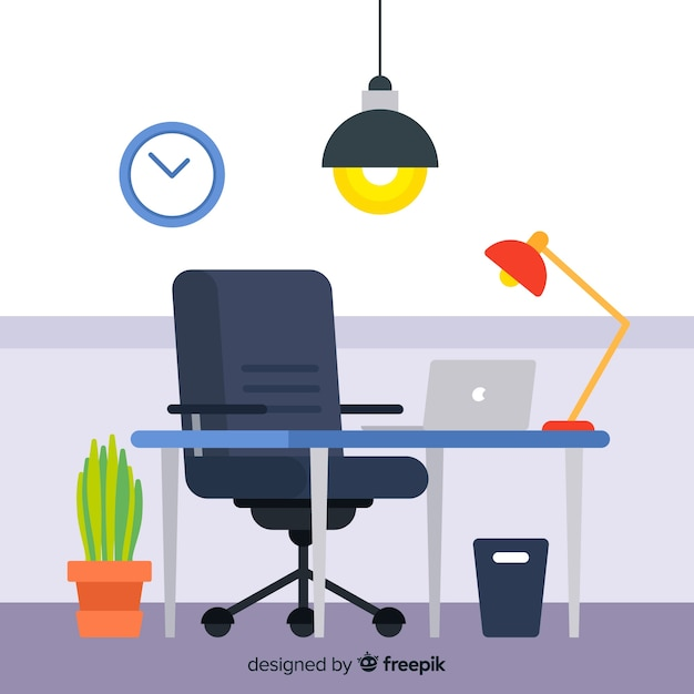 Flacher Arbeitsplatz oder Bürokonzept Kostenlose Vektoren